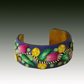 Blue Skinner Blend polymer Clay bracelet