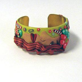Redhead Polymer Clay Cuff Bracelet
