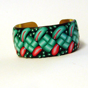 Bluegreen and Coral Polymer Clay Bracelet
