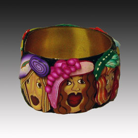 Girls, Girls. Girls - polymer clay bracelet side view 1