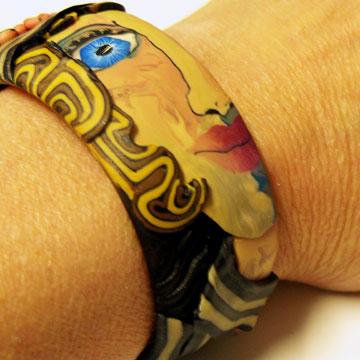 Polymer Clay Face Cane Bracelet #2 - Alice Stroppel