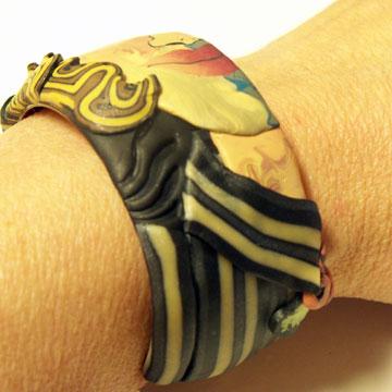 Polymer Clay Face Cane Bracelet #2 - Blouse - Alice Stroppel