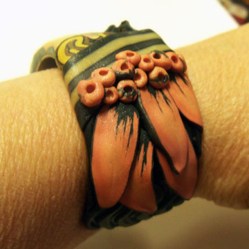 Polymer Clay Face Cane Bracelet #2 - hat - Alice Stroppel