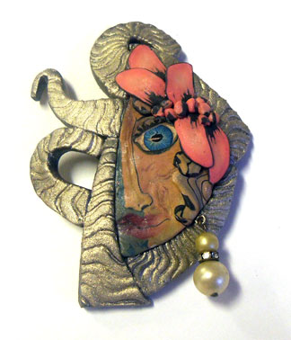 Necklace - Polymer Clay face Cane - Alice Stroppel