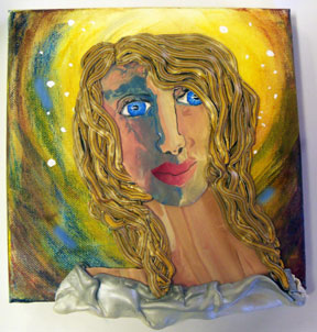 Polymer Clay Angel on Canvas - Alice Stroppel