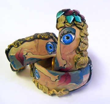Polymer clay face cane group - alice stroppel