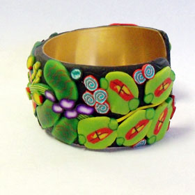Tropical Leaves Cane Bracelet - the other side