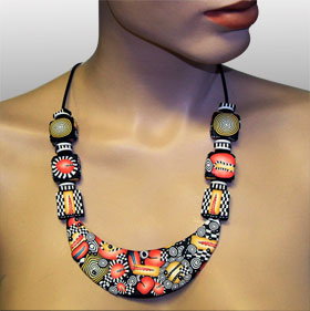 Bib Necklace - Polymer Clay
