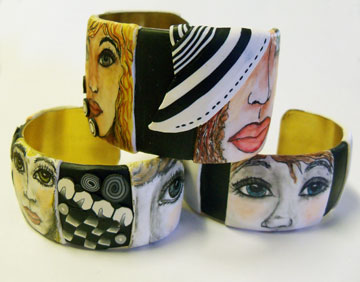 Pen and Ink Face Bracelets