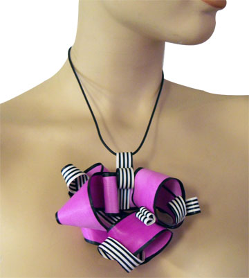 Pink Ribbon Polymer Clay Necklace - Alice Stroppel