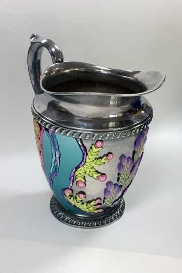 silver polymer clay pitcher